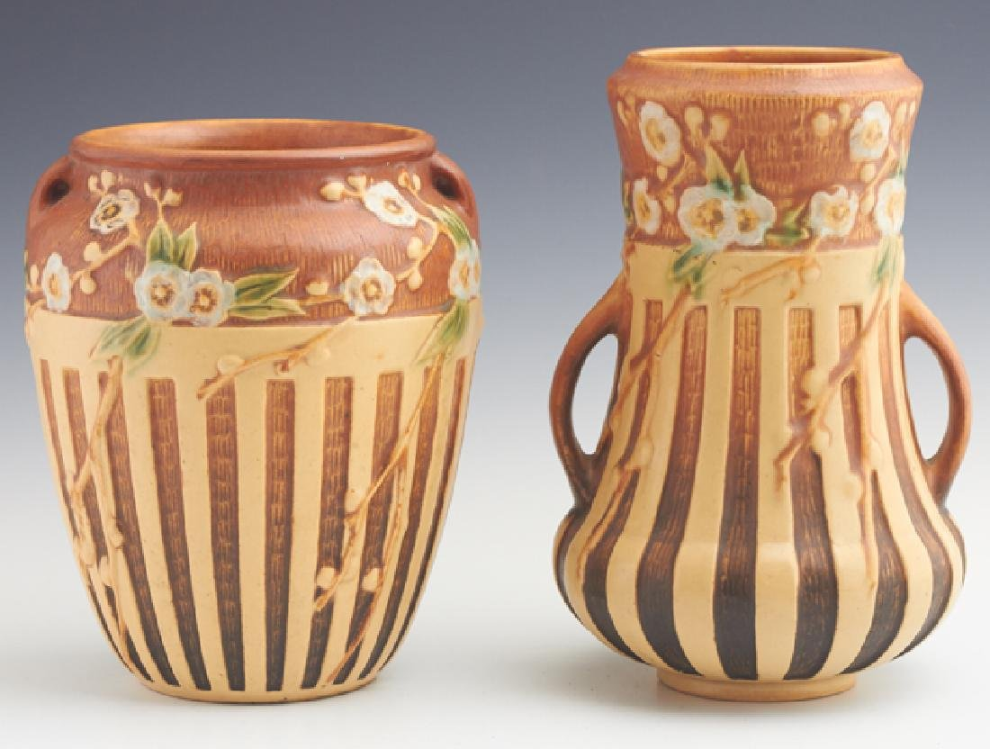 Two Roseville Cherry Blossom Vases, c. 1932, one 8-624 - 2