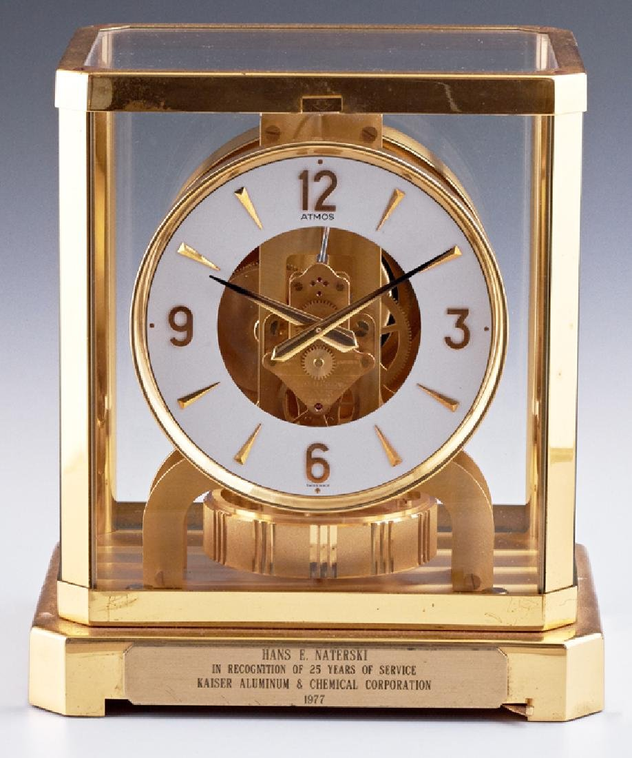Jaeger LeCoultre Atmos Brass and Glass Mantle Clock,