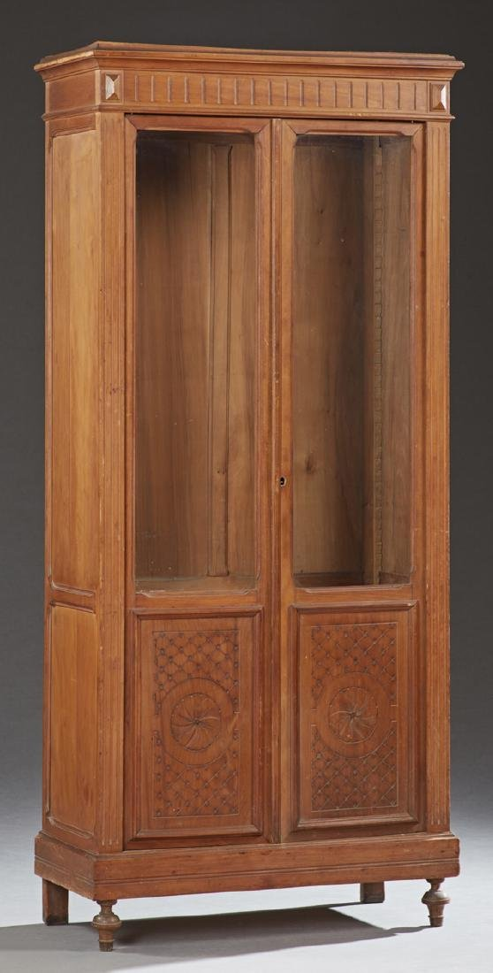 French Louis XVI Style Carved Cherry Bookcase, 19th c.,