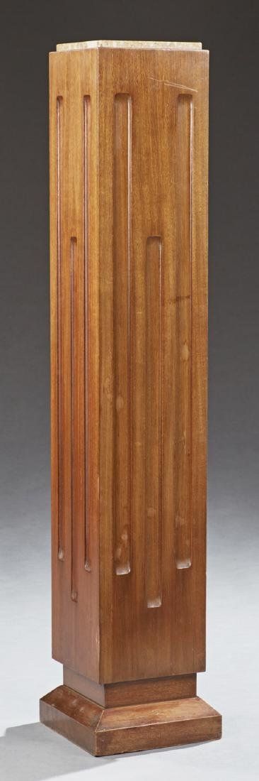 French Art Deco Marble Top Mahogany Pedestal, 20th c.,