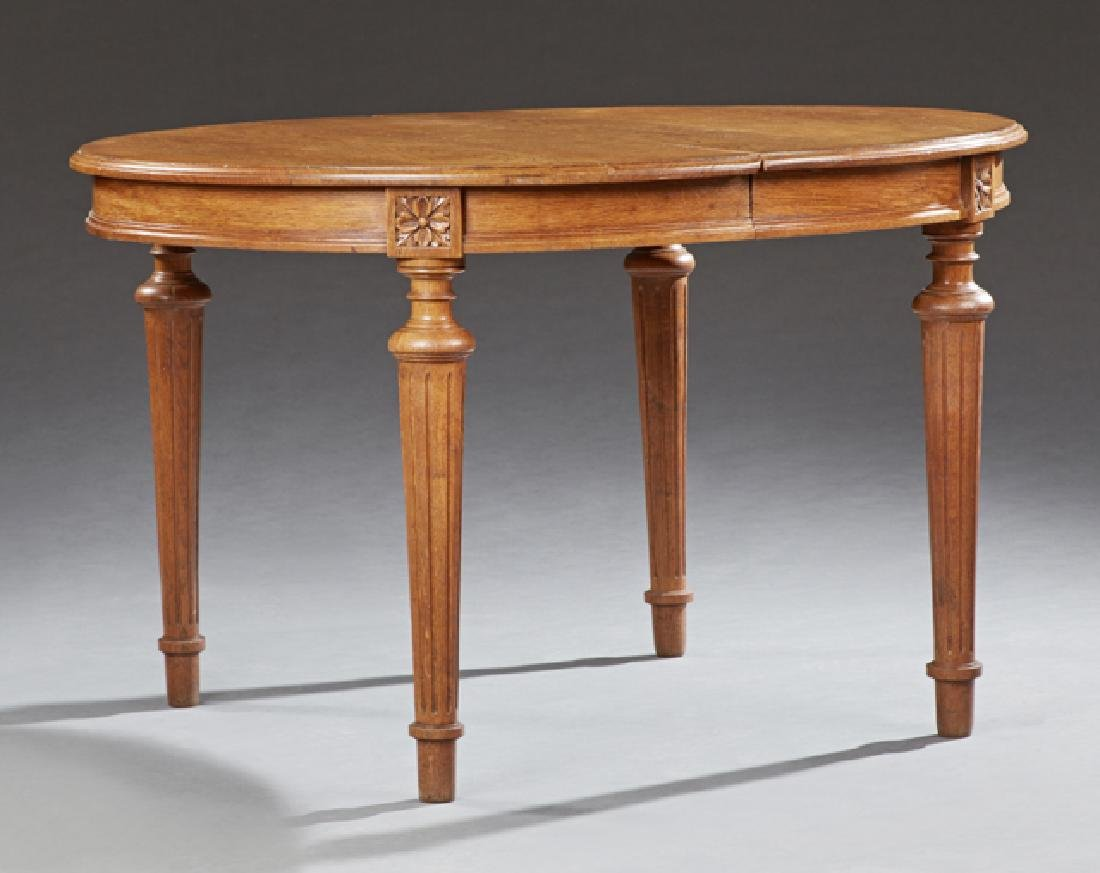 French Louis XVI Style Carved Oak Dining Table, 20th