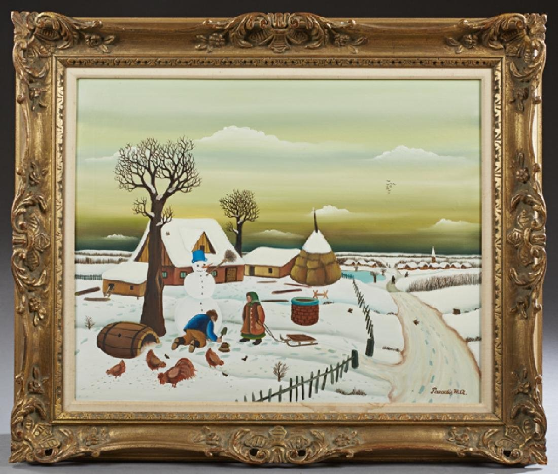 "Branko Paradis (1942-, Croatian), ""Winter Snow Scene,"""