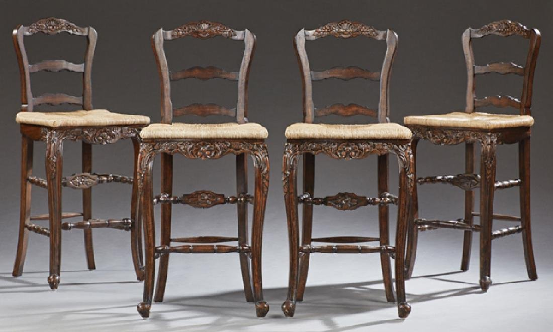 Set of Four French Provincial Style Carved Mahogany