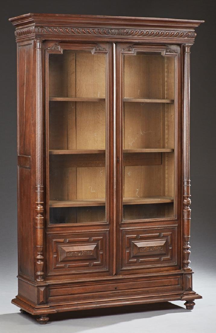 French Henri II Style Carved Walnut Bookcase, c. 1880,