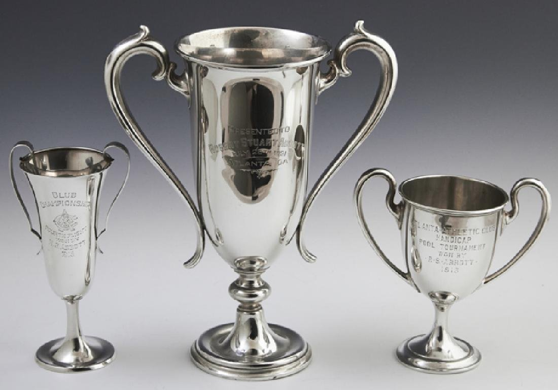 Three Sterling Trophy Loving Cups, early 20th c.,