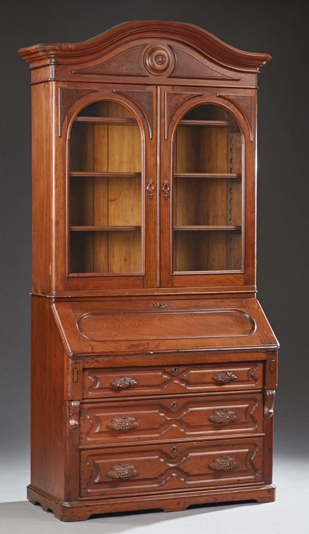 American Victorian Carved Walnut Secretary Bookcase, c.