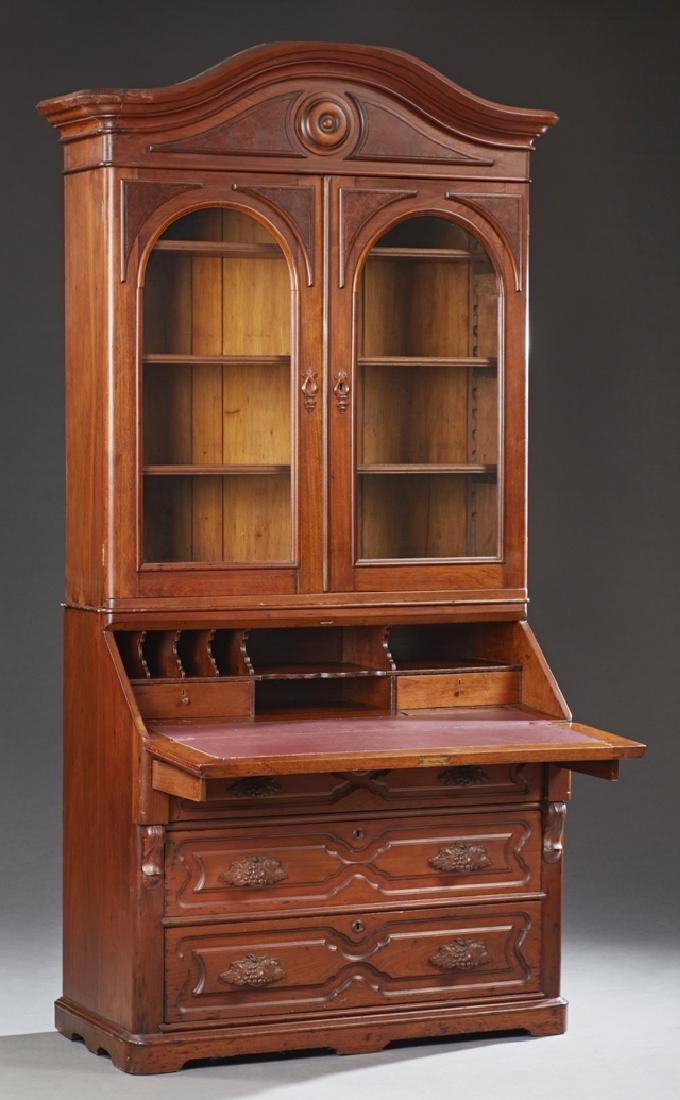 American Victorian Carved Walnut Secretary Bookcase, c. - 2