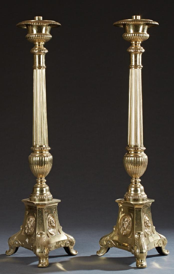 Pair of Large Brass Altar Candlesticks, 20th c., on