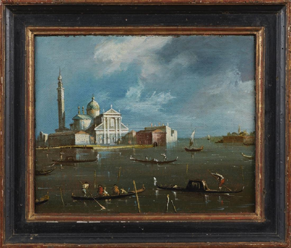 """Venetian School, """"Canal Scene,"""" 19th c., oil on board,"""