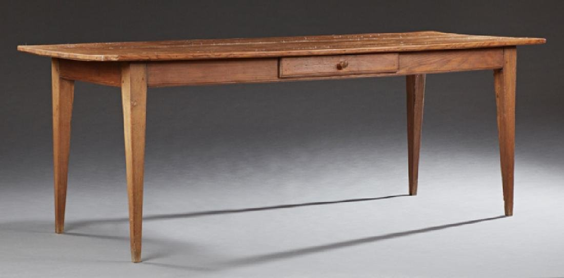 Carved Pine Farmhouse Table, 19th c., the rectangular