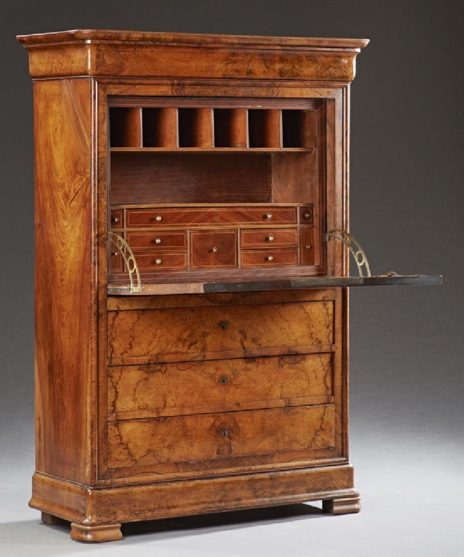 French Louis Philippe Carved Walnut Secretary Abattant, - 2