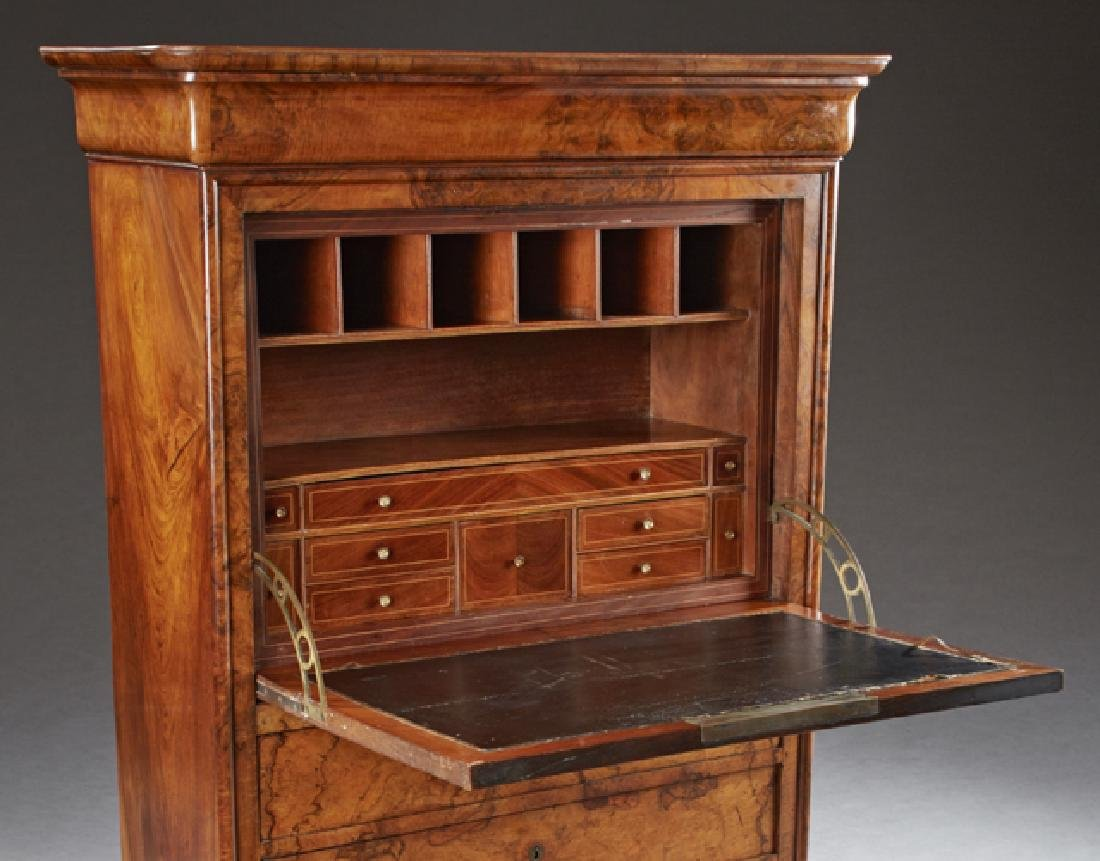French Louis Philippe Carved Walnut Secretary Abattant, - 3
