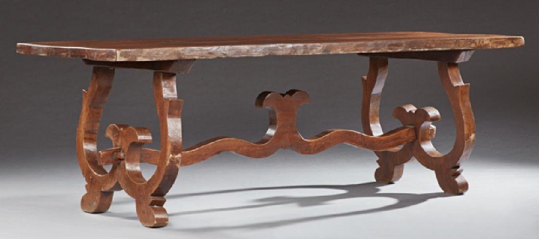 French Carved Oak Farmhouse Table, 19th c., the thick