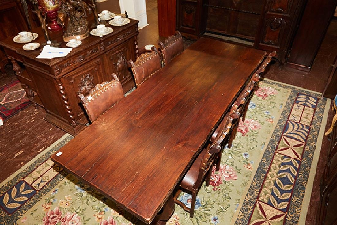 French Carved Oak Farmhouse Table, 19th c., the thick - 2
