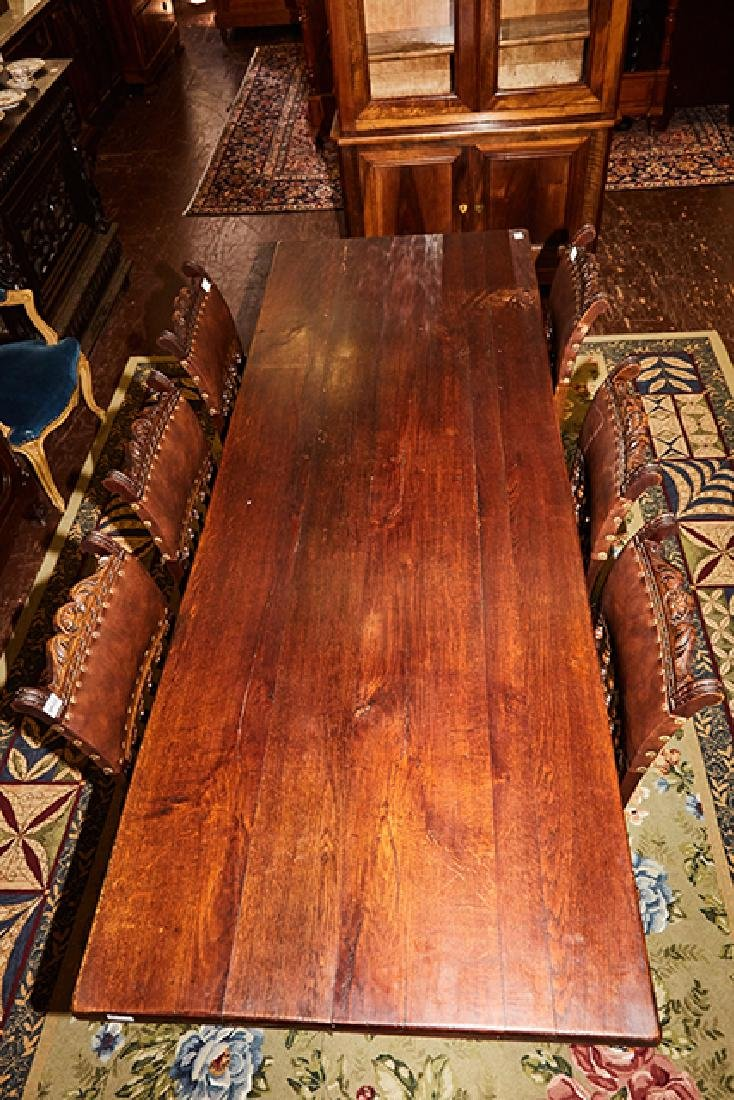 French Carved Oak Farmhouse Table, 19th c., the thick - 3