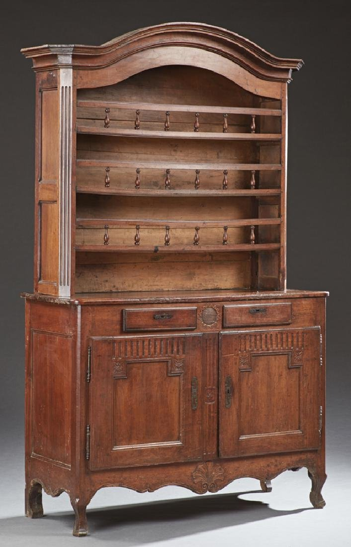 French Provincial Carved Walnut Vaisselier, early 19th