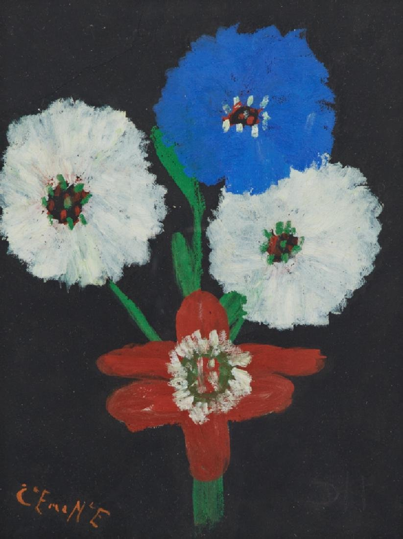 """Clementine Hunter (1887-1988), """"Zinnias With a Red - 2"""