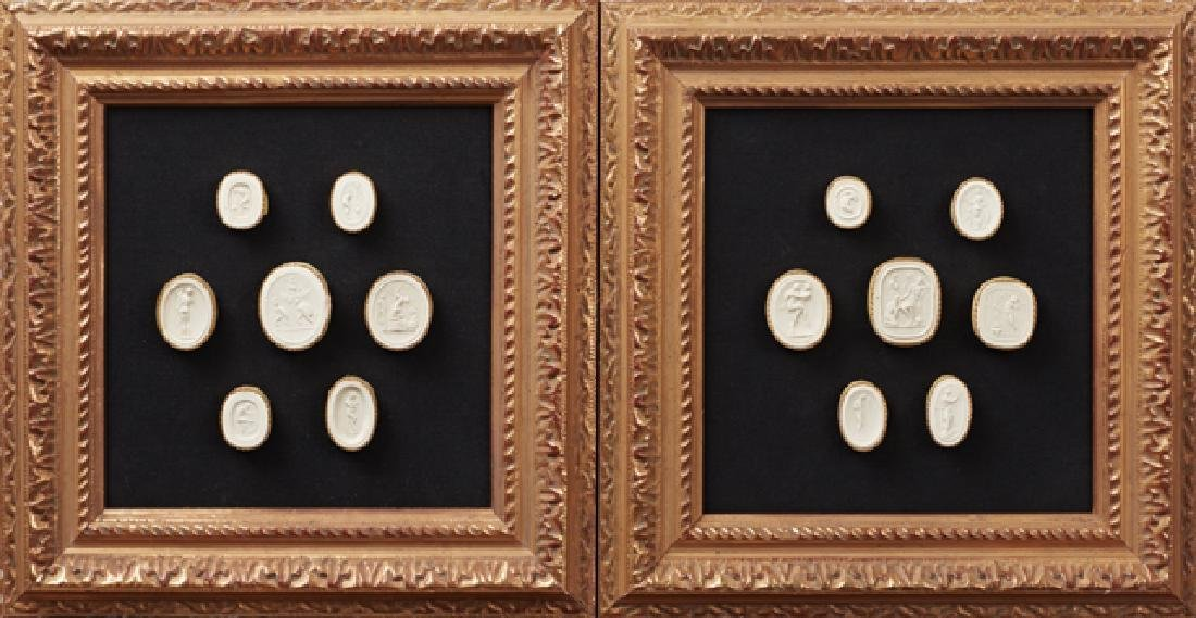 """Two Groups of Plaster Intaglios,"""" 19th c., each with"""