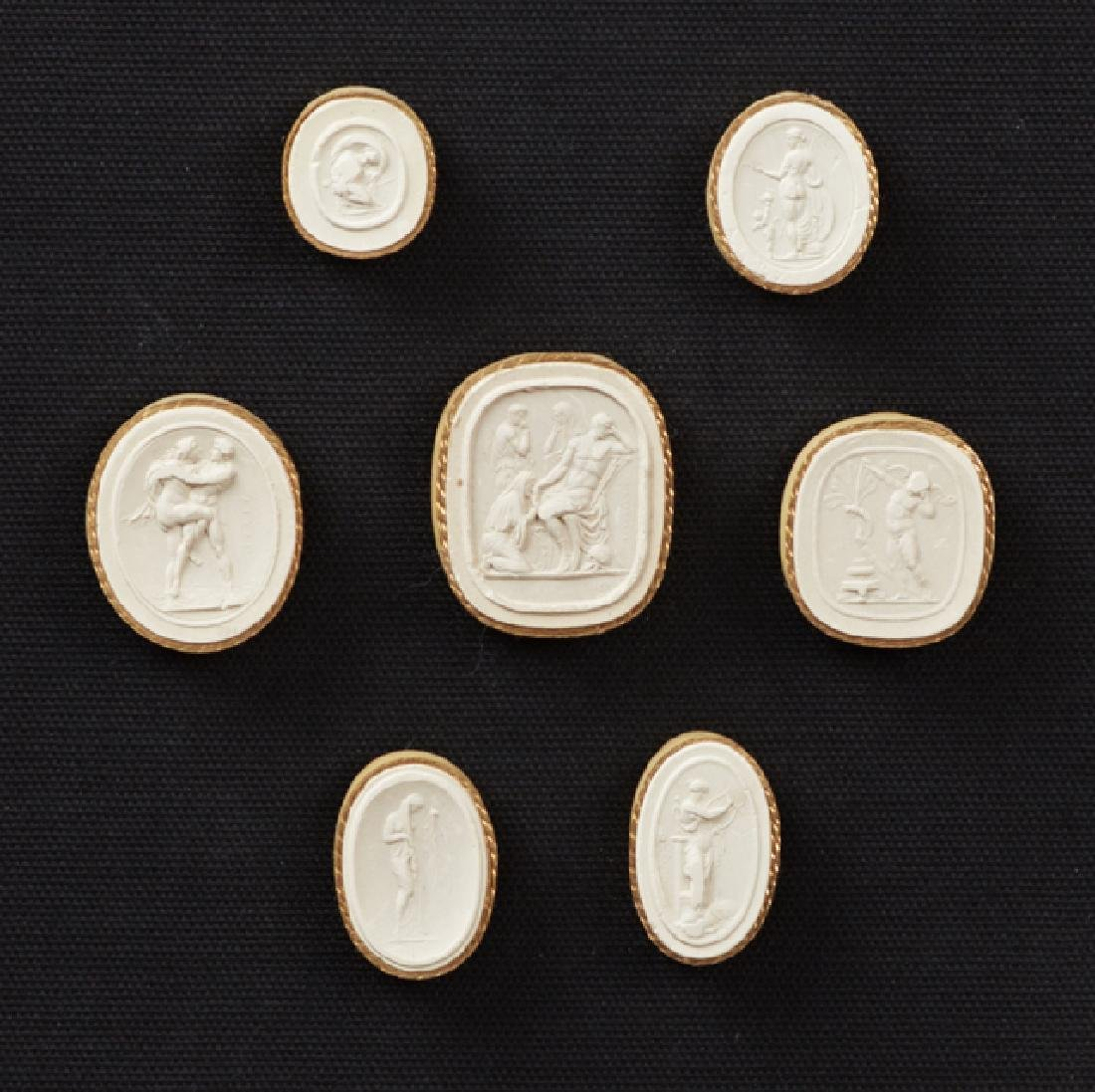 """Two Groups of Plaster Intaglios,"""" 19th c., each with - 3"""