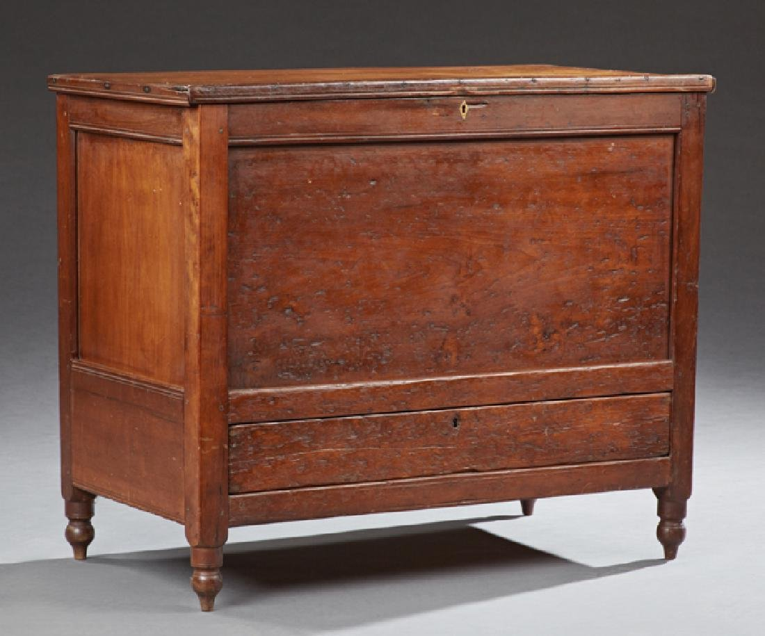Southern Carved Walnut Sugar Chest, 19th c., the