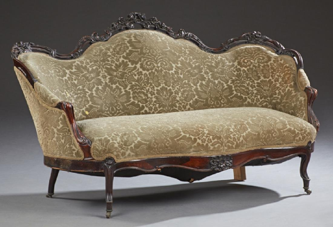 American Rococo Revival Carved Rosewood Settee, 19th