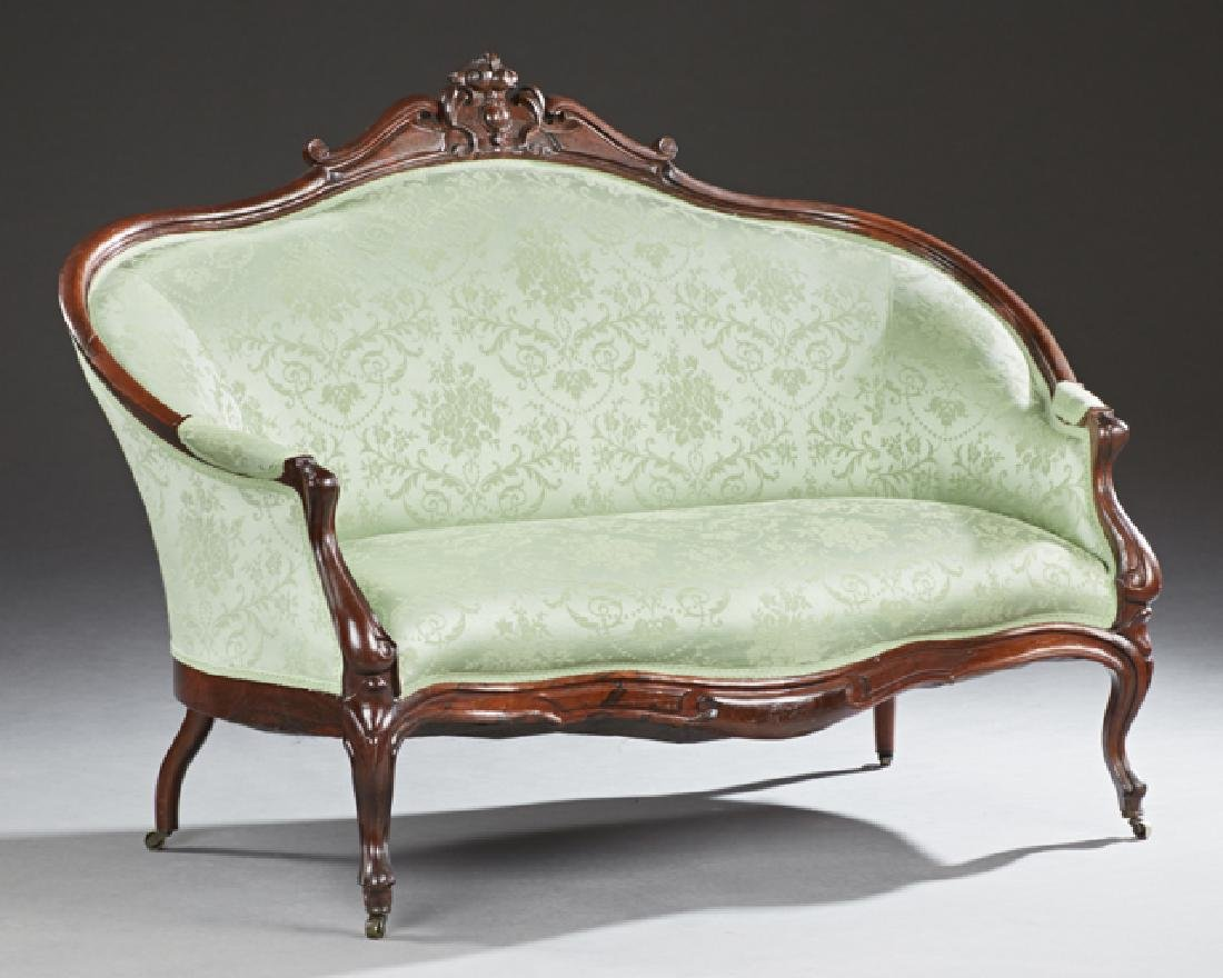 American Carved Rosewood Canape, late 19th c., the
