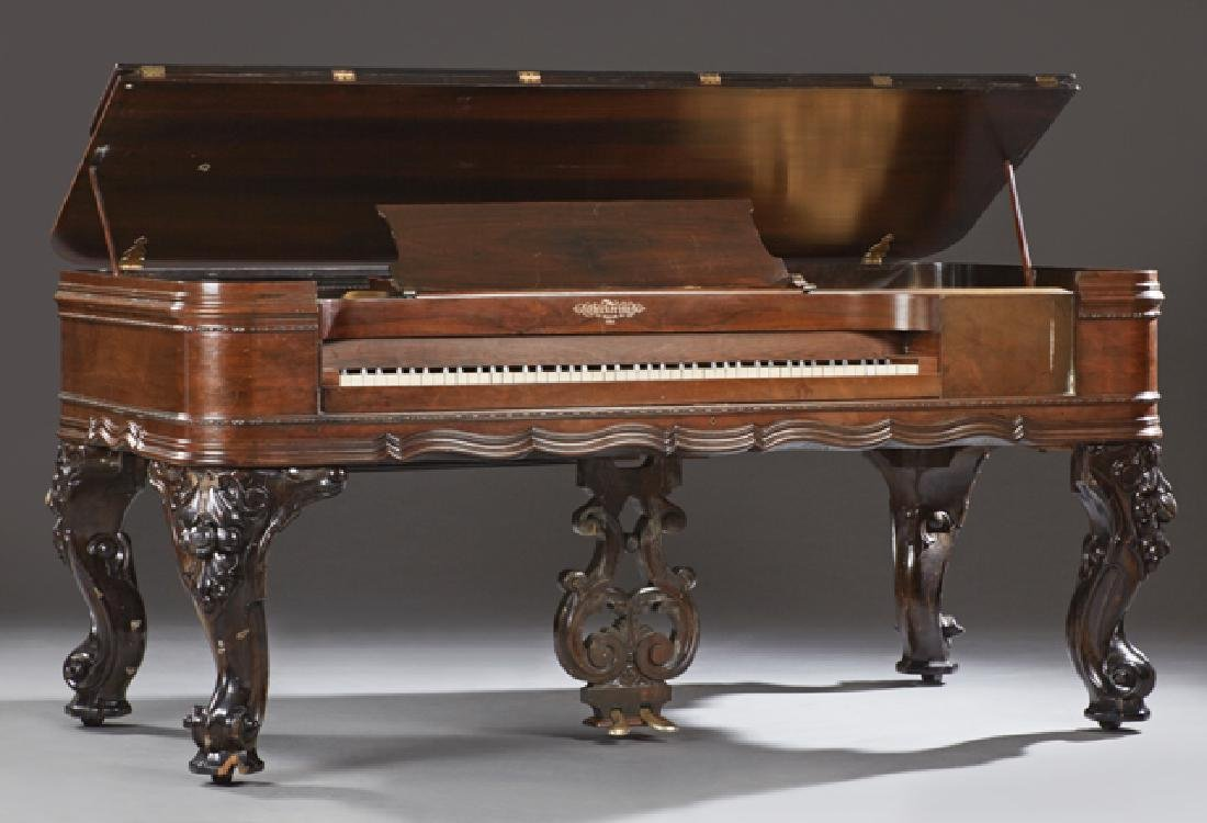 Chickering Carved Rosewood Square Grand Piano, c. 1882,