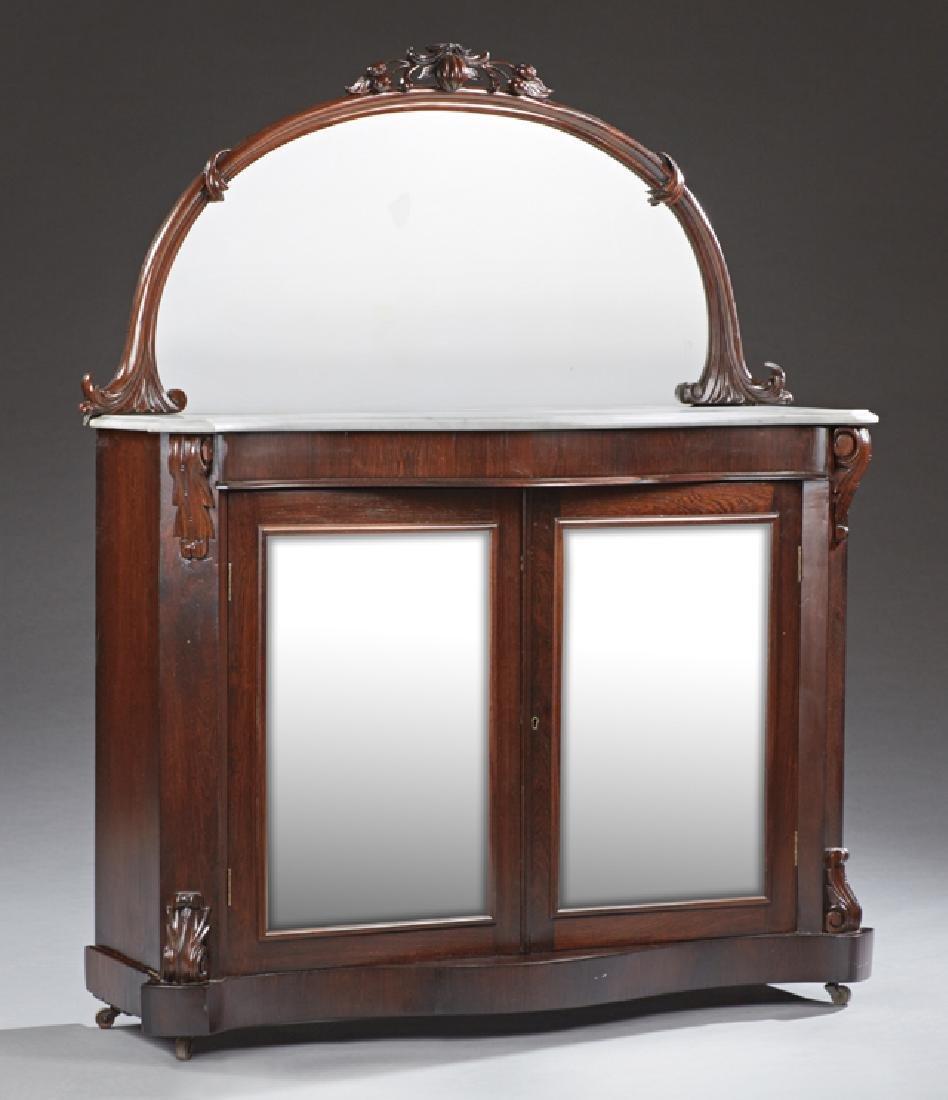 English Victorian Carved Mahogany Marble Top Credenza,