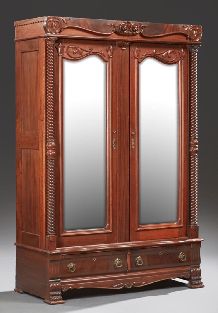 American Late Victorian Mahogany Armoire, c. 1900, with