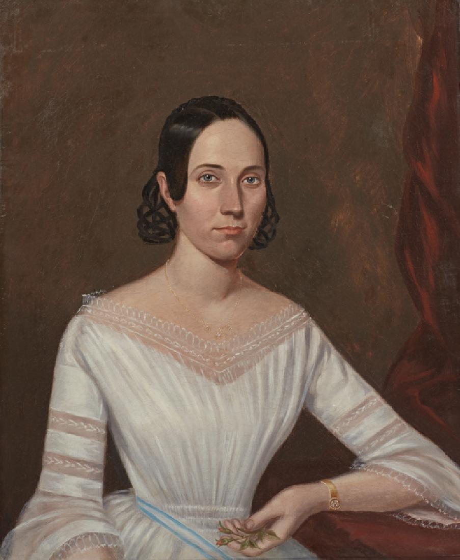 "Louisiana School, ""Portrait of a Woman with Flowers in"