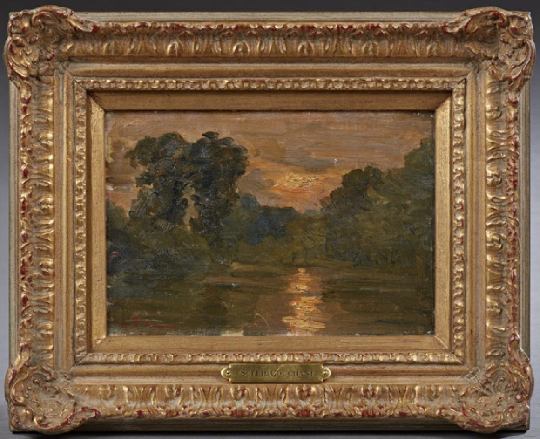 """French School, """"Soleil Couchant,"""" 19th c., oil on"""
