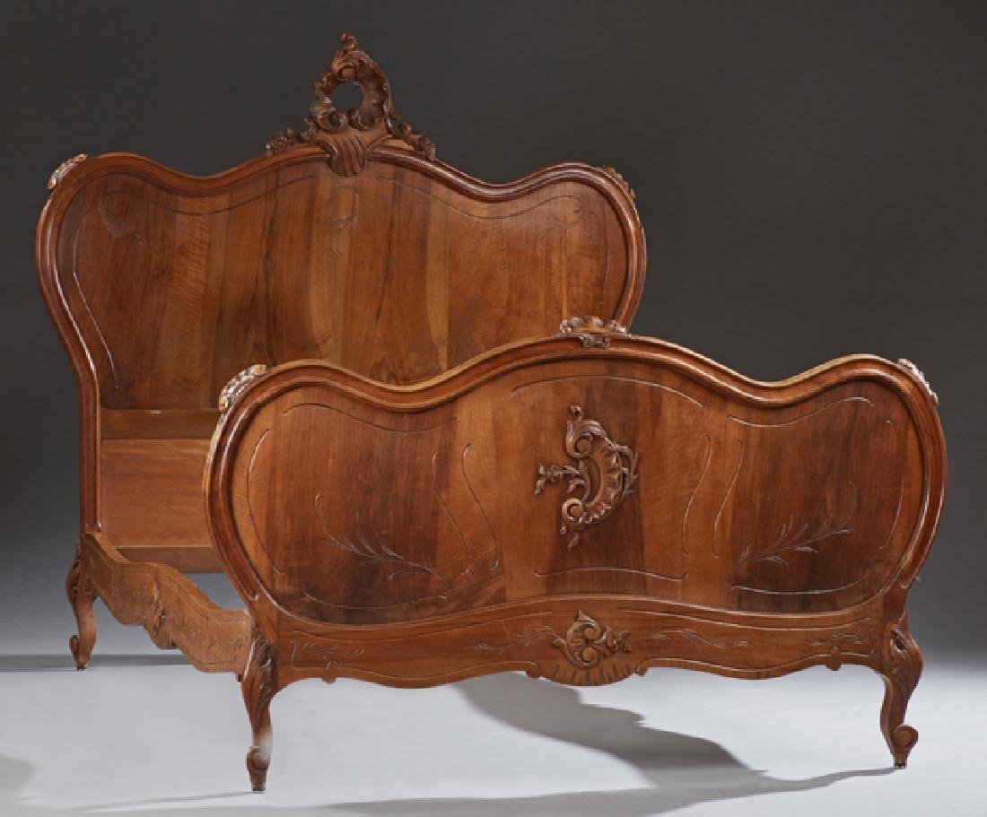 French Louis XV Style Carved Walnut Double Bed, early