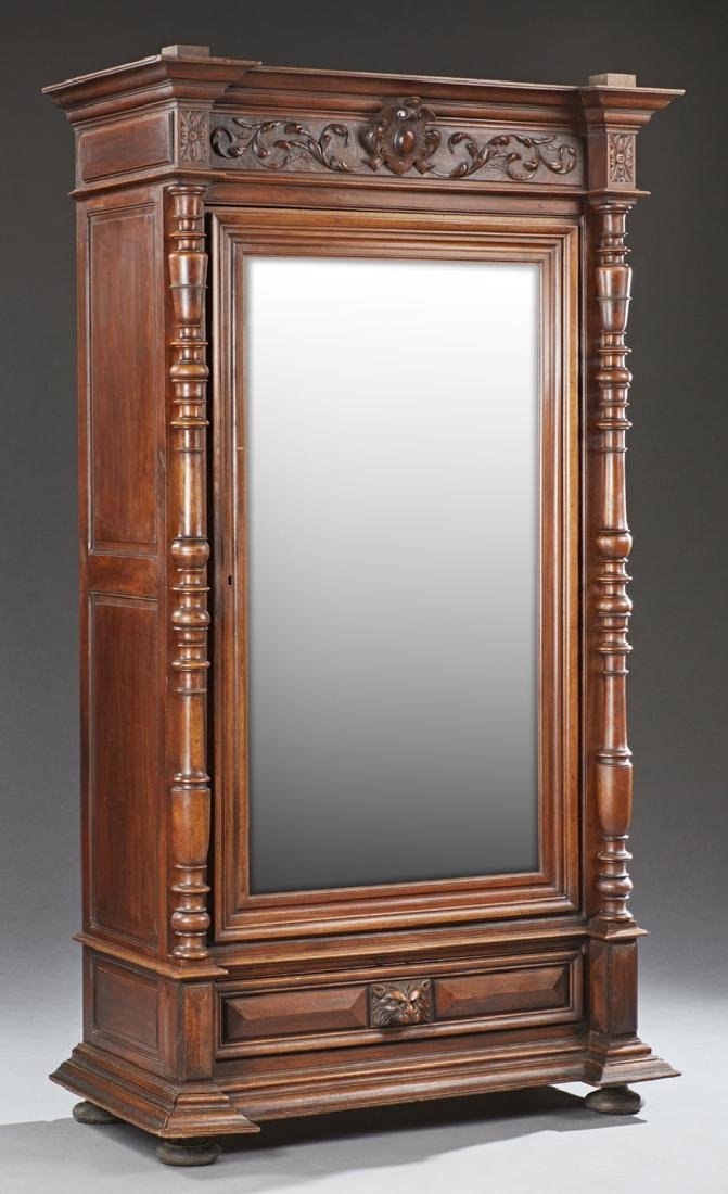 French Mahogany Armoire, C. 1880, The Stepped