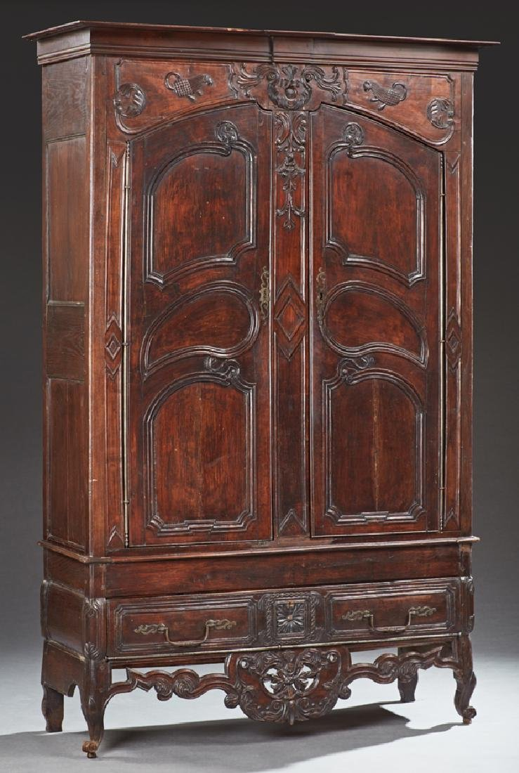 Unusual French Louis XV Style Carved Cherry and Oak