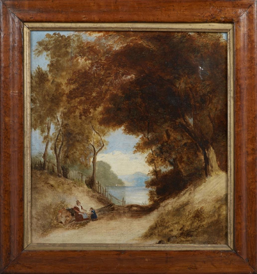 """Continental School, """"Landscape with Woman and Child,"""""""