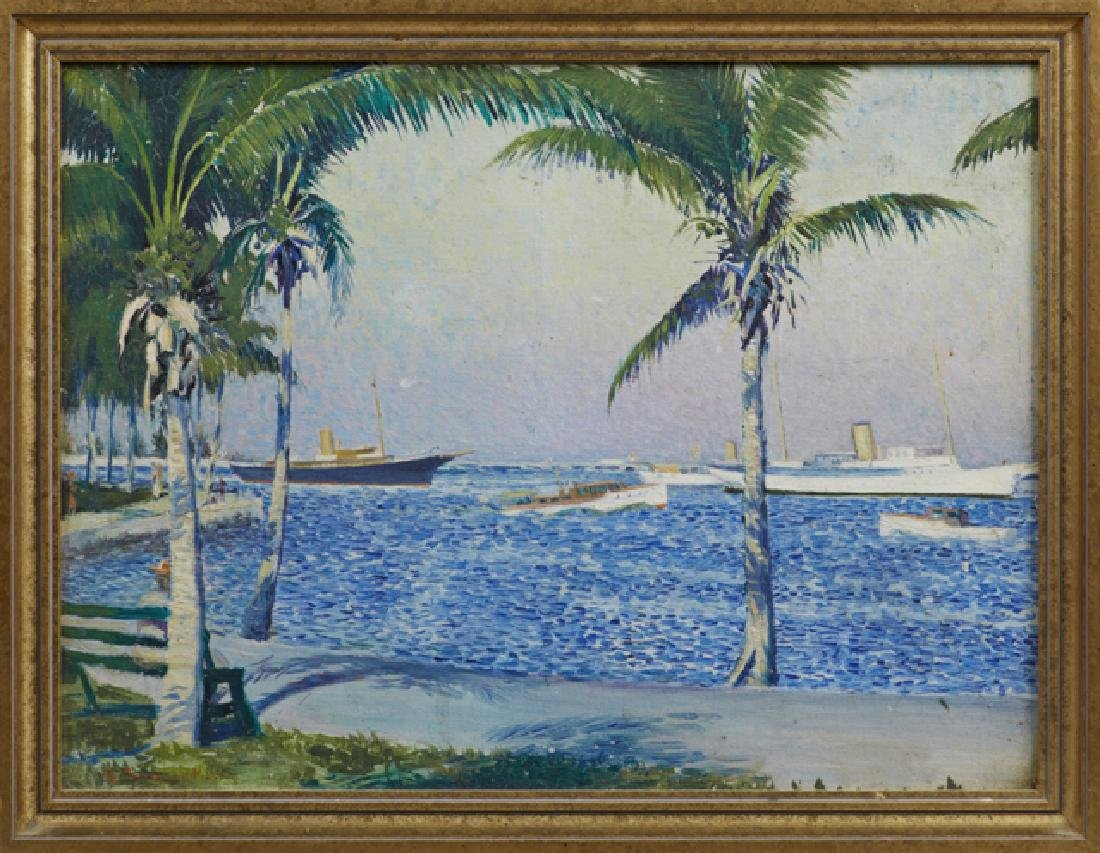 "American School, ""Tropical Harbor Scene,"" 20th c., oil"
