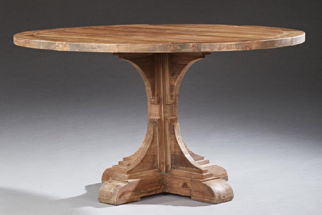 Continental Style Carved Walnut Circular Dining Table,