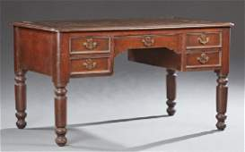English Victorian Carved Walnut Desk, 19th c., the