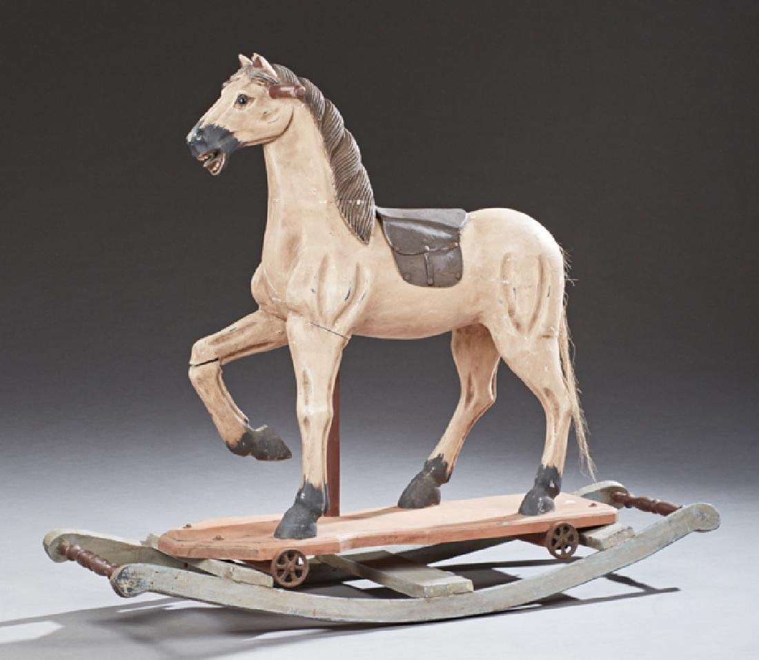 Child's Polychromed Carved Wood Riding Horse, 20th c.,