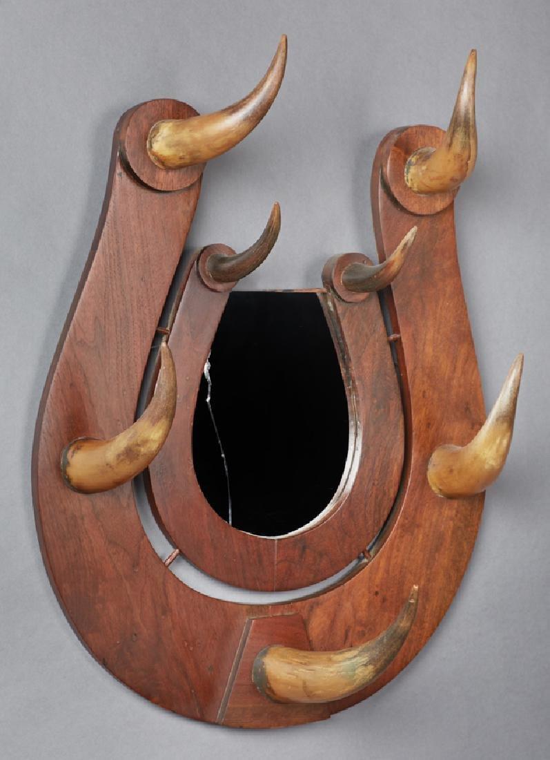Carved Mahogany Hall Rack, c. 1900, of horseshoe form, - 2