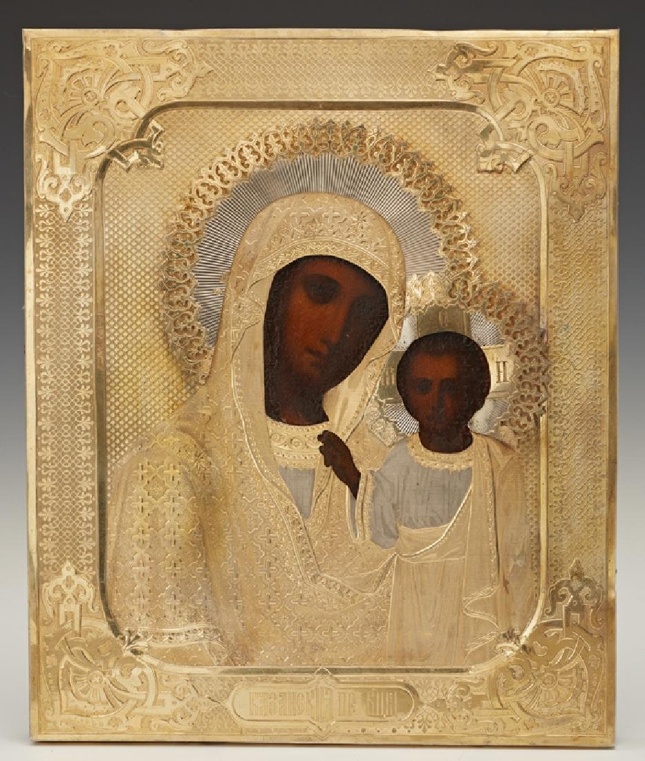 Russian Icon of the Virgin of Kazan, 1878, Moscow, with