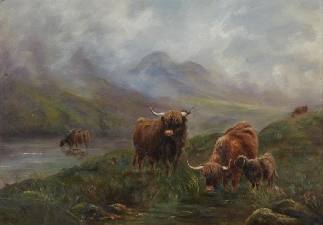"English School, ""Cows Watering,"" early 20th c., oil on"
