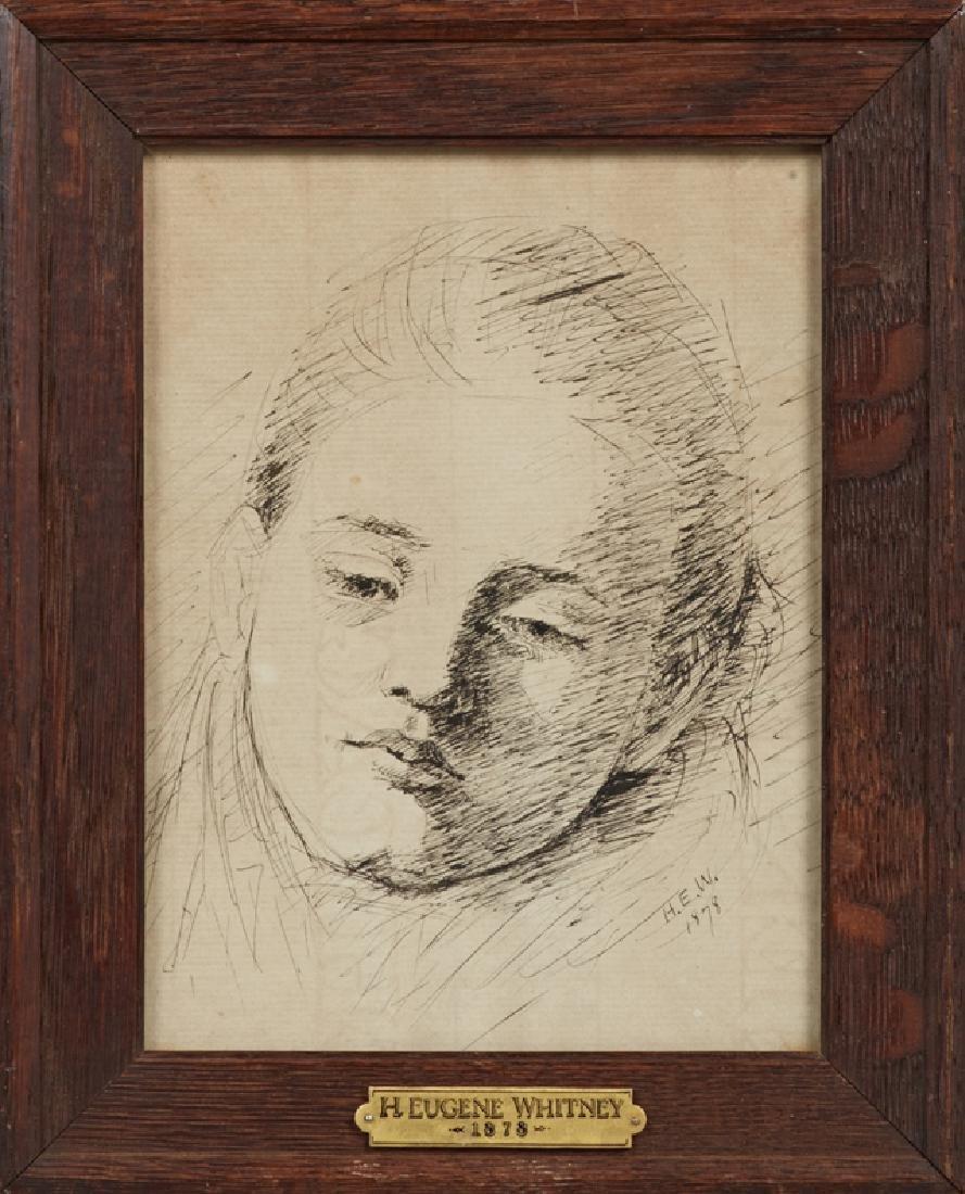 """Eugene Whitney, """"Portrait of a Lady,"""" 1878, ink, signed"""