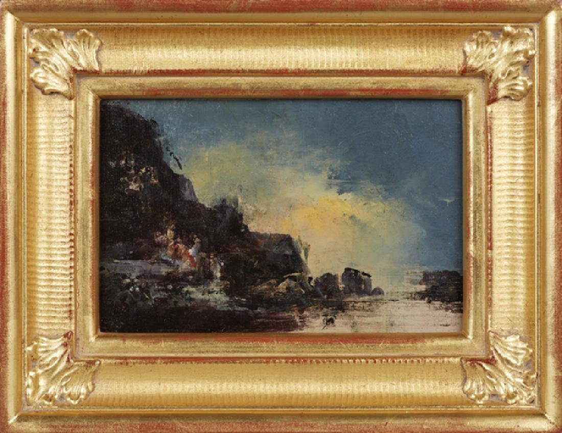 "Continental School, ""Rocky Coast at Night,"" 19th c.,"