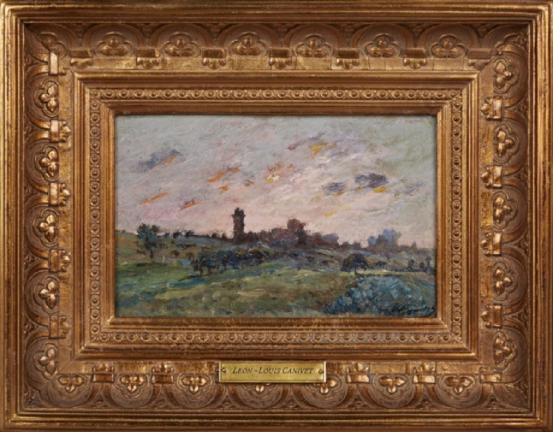 """Leon-Louis Canivet, """"Landscape,"""" 20th c., oil on panel,"""