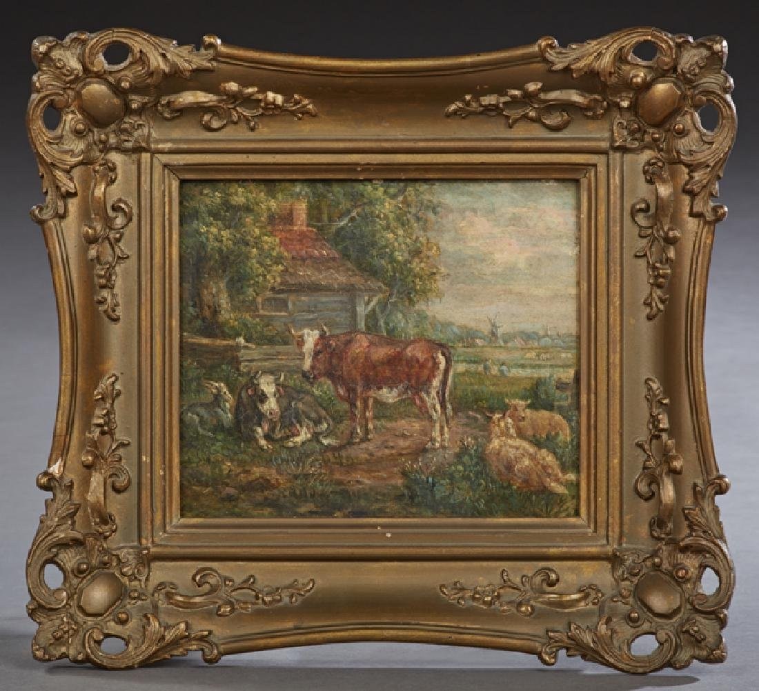 "Dutch School, ""Cattle and Farmhouse,"" 19th c., oil on"