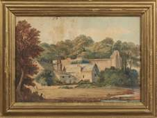 """English School, """"View of the Village and Church,"""" late"""