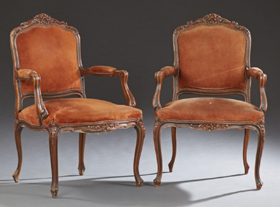 Pair of French Louis XV Style Carved Beech Fauteuils,
