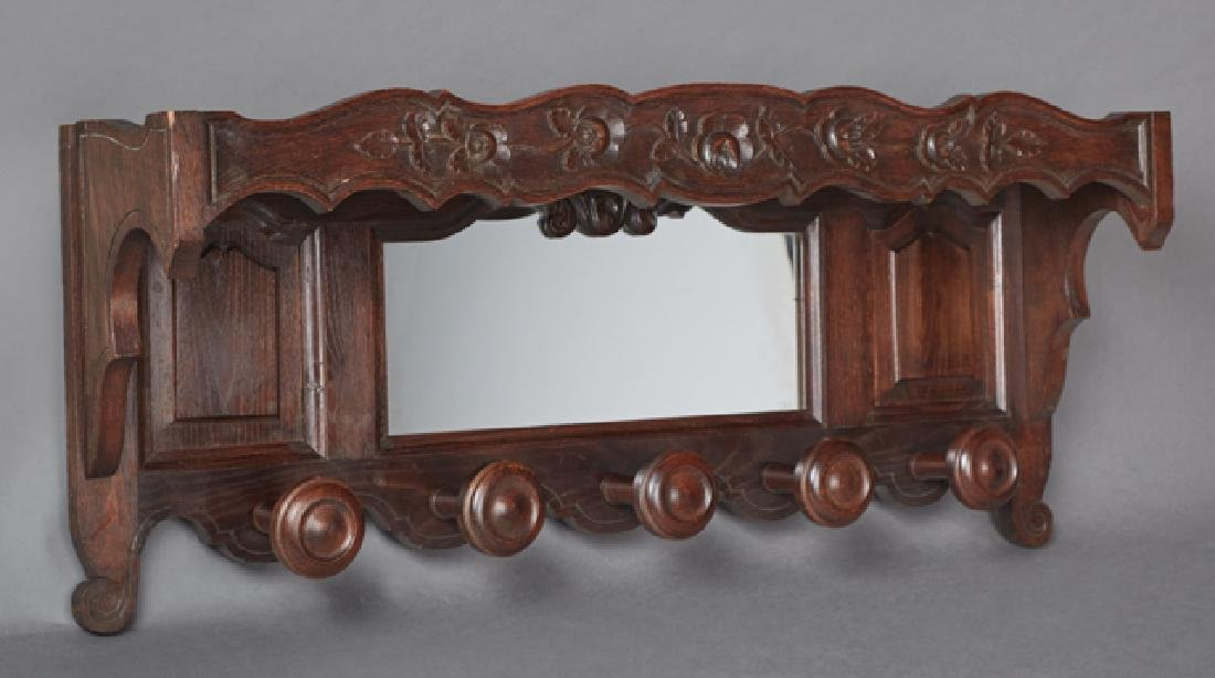 French Carved Oak Hat Rack, early 20th c., the top