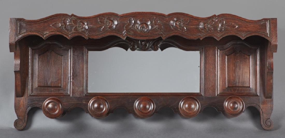 French Carved Oak Hat Rack, early 20th c., the top - 2
